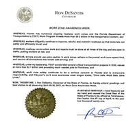 Work Zone Awareness Week Governor Proclamation