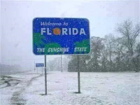 Welcome to Florida sign and snow in D3 on January 28, 2014