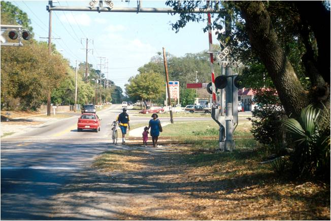 Pedestrians along roadway with no sidewalk
