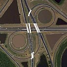 color orthophoto of partial cloverleaf highway intersection