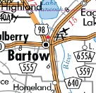 Vicinity map of Bartow Florida