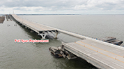 Image depticting the missing full span of the Pensacola Bay Bridge, slated for replacement