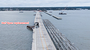 Image depticting the missing half span of the Pensacola Bay Bridge, slated for replacement
