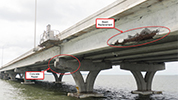 Image depticting beam replacement and concrete repair of the Pensacola Bay Bridge, slated for replacement