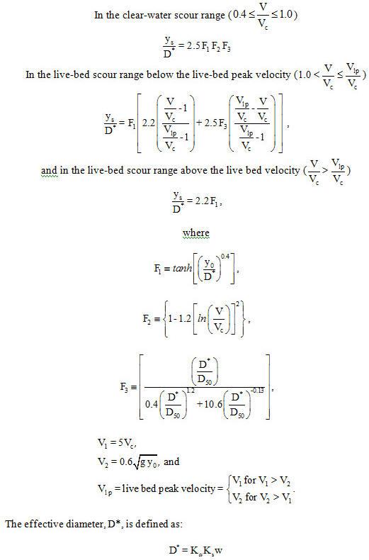 Sheppards Pier Scour Equations