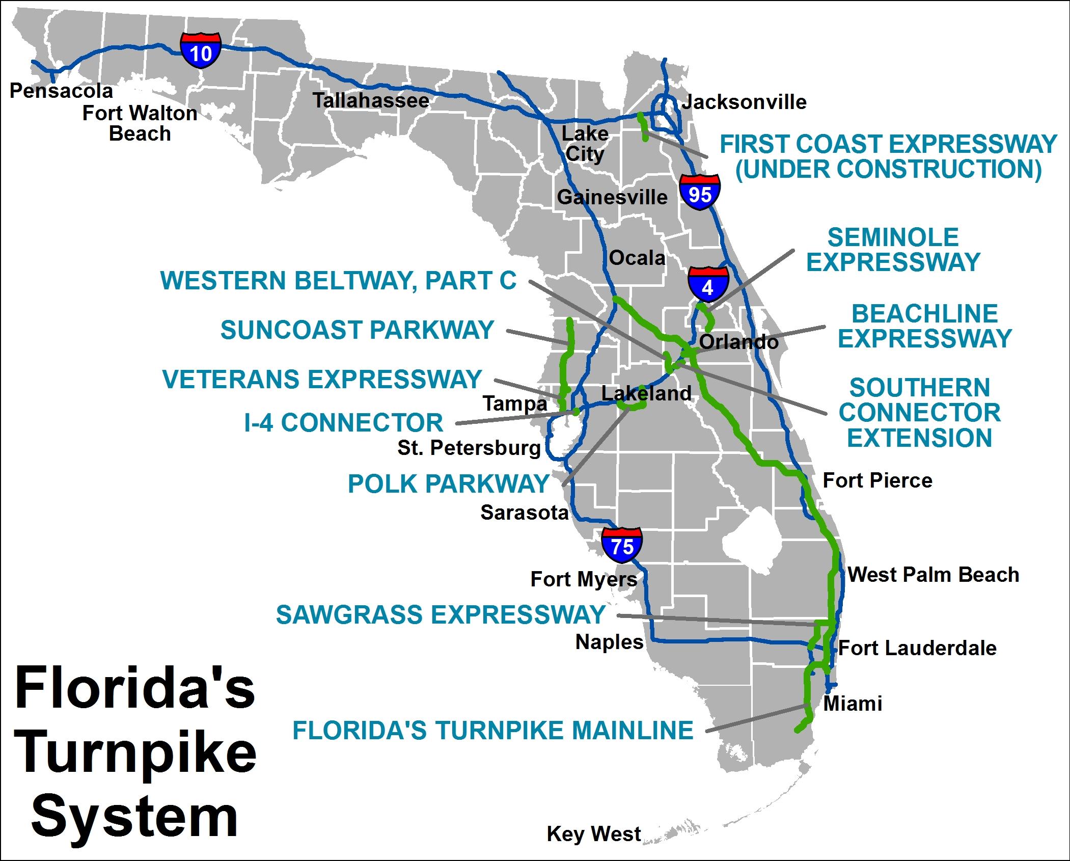 Map Of Florida Turnpike Turnpike Information