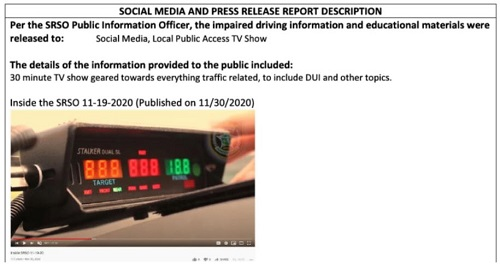 Image of social media press release with picture of mounted police radar