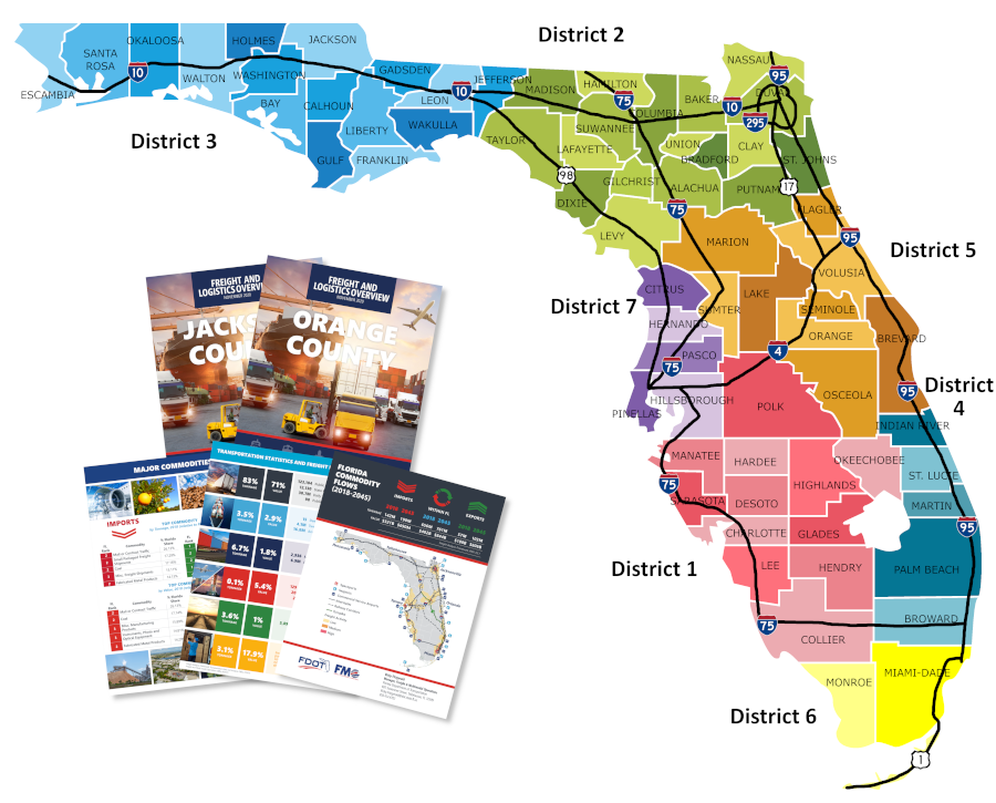 A map picture of Freight profiles throughout the State of Florida.