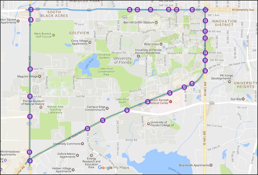 Gainesville Trapezium Map