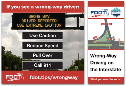 Wrong Way Driving Tip Card and Graphic
