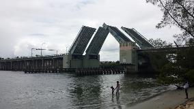 side view of raised bridge