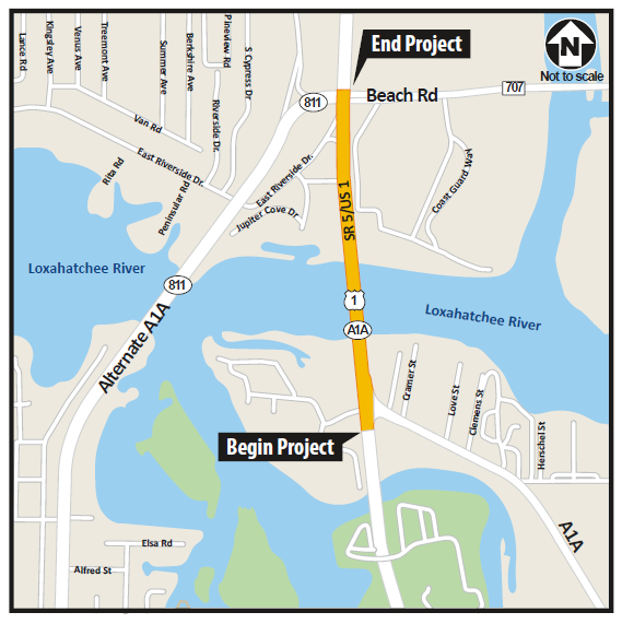 Map view highlighting Jupiter Bridge project