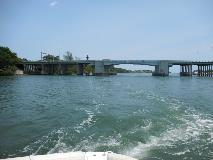 View of Jupiter bridge from the water