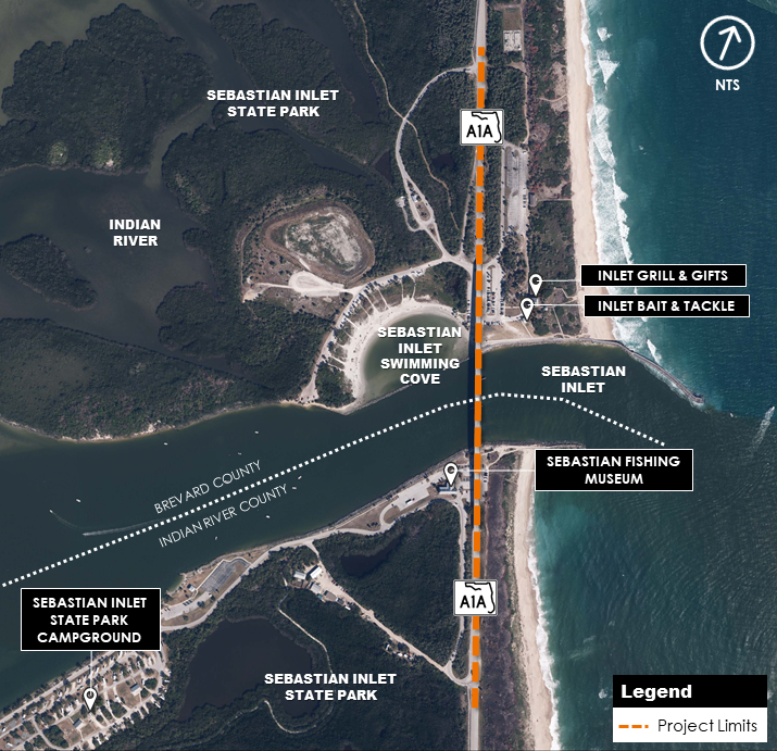 Project Study Map - Aerial view of the project study area and project limits