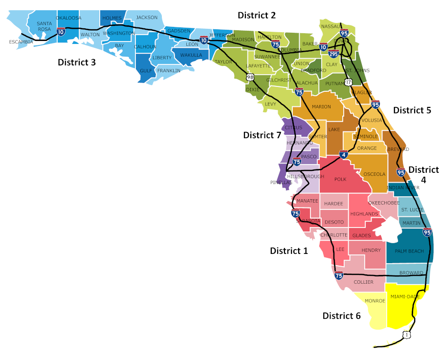 FDOT Districts Map with Counties